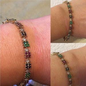 Jewelry - 10kt YG Sapphire/Emerald/Ruby/Diamond Bracelet